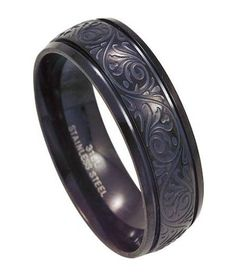 Polished Black Stainless Steel Ring for Men with Lasered Design...www.justmensrings.com