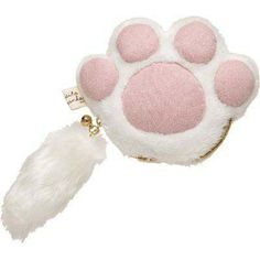 white cat plush pouch wallet
