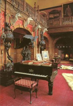 """A few tales of Rum – the Castle, """"Daz Boat"""", the ridge and great memories Victorian Interiors, Cottage Interiors, Palaces, Skibo Castle, Scottish Castles, Scottish Music, Palace Interior, Trophy Rooms, Destinations"""