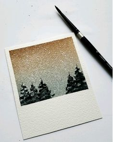Easy winter landscape watercolor painting  #PintoWin2019