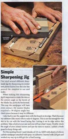 Planer Blade Sharpening Jig - Sharpening Tips, Jigs and Techniques | WoodArchivist.com