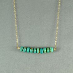 Turquoise Beads Necklace 14K Gold Filled Chain by WonderfulJewelry, $25.00