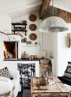 Shabby chic rustic cozy living room