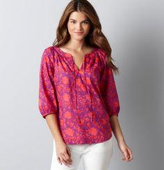 Cotton Batik Carnation Print Tie Neck Peasant Tunic