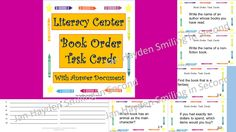 Literacy Center for Book Orders- Also may be used as Task Cards