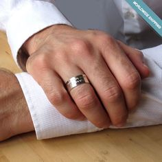 Engraved Sterling Silver Ring - Custom Message Rings - Unisex Wedding Band #NadinArtDesign #Band