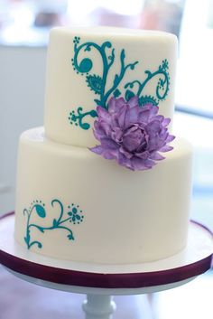 White cake with teal and purple details - Sweet & Saucy Shop Beautiful Cake Pictures, Beautiful Cakes, Amazing Cakes, Simply Beautiful, Pretty Cakes, Cute Cakes, Fondant Cakes, Cupcake Cakes, Biscuits