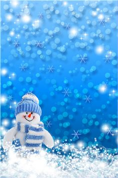Snowman in Blue. Christmas Frames, Christmas Pictures, Christmas Snowman, Christmas And New Year, All Things Christmas, Christmas Time, Merry Christmas, Winter Wallpaper, Christmas Wallpaper