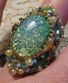 Victorian Art Nouveau MERMAIDS Ring AQUA Vintage Glass Opals Pearls by savannahparker.com