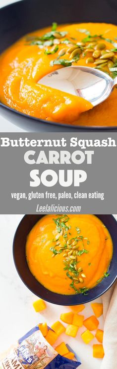 This healthy roasted Butternut Squash and Carrot Soup is perfect cold weather food and is super easy to make. The recipe is vegan, gluten free, clean eating, dairy free and can also be paleo or Whole30. Round out the meal with your protein of choice - I like cooked quinoa. Sponsored | Simple | Dinner | Spicy | Maple | Quick | Without Coconut Milk | Savory | Vegetarian | Blender | Stovetop | Garlic