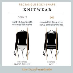 Rectangle Body Shape Knitwear Do's and Don'ts - the concept wardrobe Pear Body, Build A Wardrobe, Athletic Body, Broad Shoulders, Rectangle Shape, Playsuits, Body Types, Personal Style, Shapes