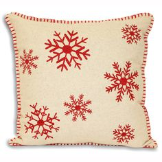 Cushions : Square Christmas Cushion Cover Red Snowflake Design On a Cream Background