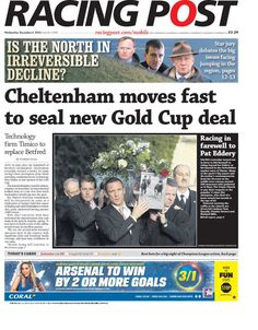 """""""Wednesday's Racing Post: Cheltenham moves fast to seal new Gold Cup deal 9 December, Bbc, Seal, Gold Cup, Racing, Wednesday, Running, Auto Racing, Harbor Seal"""