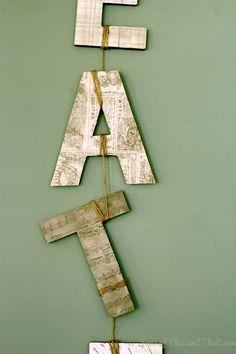 Easy and creative way to display wall art letters! Hanging Letters On Wall, Letter Wall Art, Symbols, Display, Creative, Diy, Crafts, Floor Space, Manualidades