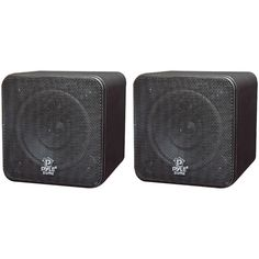 "Pyle Home 4"" 200-watt Mini-cube Bookshelf Speakers (black)"
