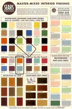 and paint colors from Sears' classic Harmony House collection is part of Mid century modern colors - A vintage paint chip sheet with and paint colors from Sears' classic Harmony House collection great for ideas to paint your retro ranch! Mid Century Modern Colors, Mid Century Modern Design, Mid Century Modern Furniture, Midcentury Modern, Modern Interior, Interior Colors, Modern Retro, Danish Modern, Interior Design