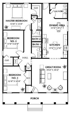 Floor Plan for a Small House 1,150 sf with 3 Bedrooms and