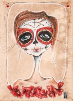 la catrina i  Dia de los Muertos aceo print by stellalatwinski (ETSY)...My next Tattoo to remember those I have lost <3