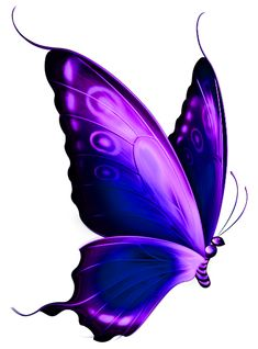 Transparent Blue and Purple Deco Butterfly PNG Clipart