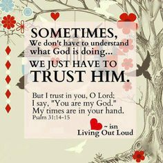 Psalm 31:14-15 ~ But I trust in You O Lord; I say You are my God, my times are in Your hand...<3