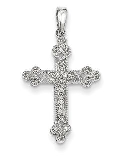 ApplesofGold.com - Filigree Diamond Cross Pendant, 14K White Gold, $249