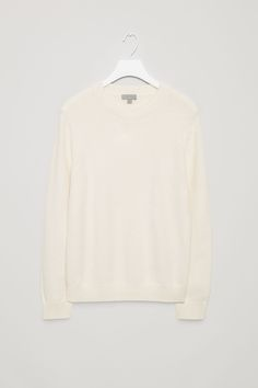 COS image 4 of Structured cotton-knit jumper in White