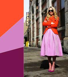 11 Chic Color Combinations to Wear This Spring--Poppy Red + Lilac + Fuchsia Color Combinations For Clothes, Color Combos, Color Mix, Blazers, Stockholm Street Style, Work Fashion, Fashion 2014, Fashion Ideas, Spring Outfits