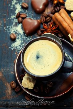 coffee and spices - Cup of coffee with sugar, chocolate and spices