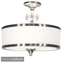 Z-Lite Cosmopolitan 3 Light Semi-Flush Ceiling Fixture with White Shade Brushed Nickel Indoor Lighting Ceiling Fixtures Semi-Flush Ceiling Fixtures, Ceiling Lamp, Ceiling Lights, Light Fixtures, Cosmopolitan, Semi Flush Lighting, Troy Lighting, Modern Lighting, Lighting Ideas