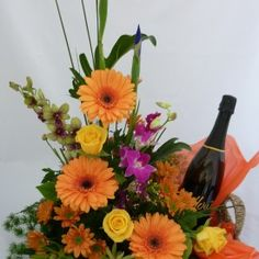 (F42) Flowers and Sparkling wine arrangment http://www.israel-gifts-flowers.com/