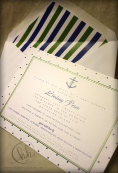 Nautical anchor baby shower invitations in navy and green.  For pricing, information, and ordering please email info@hhdesignhouse.com.