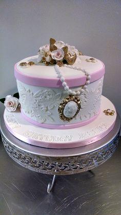 Vintage fondant birthday cake.