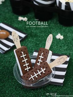 Ice cream football sandwiches. Super Bowl party food
