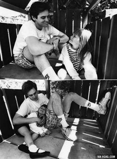 Jim Carrey with daughter Jane in a tree house, 1991