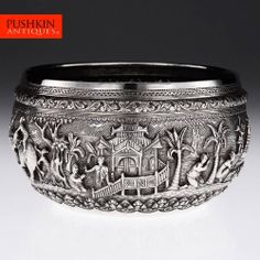 ANTIQUE 19thC INDIAN BURMESE SOLID SILVER HAND CRAFTED THABEIK BOWL c.1880