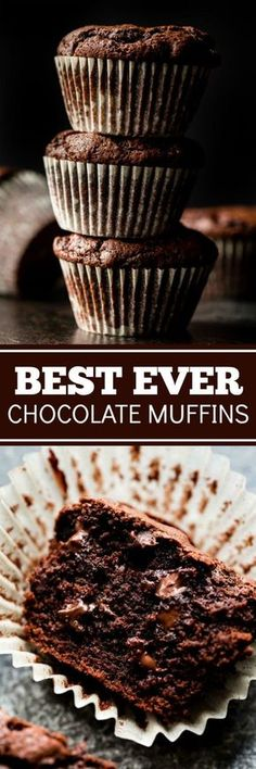 These are the BEST chocolate muffins! They taste like dessert for breakfast. Muffin recipe on http://sallysbakingaddiction.com