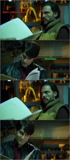 """Monroe and Nick from Grimm ~ """"good Blutbad!"""" Hahaa :') speaks to Monroe like he's his dog... in a way, he is. Lol"""
