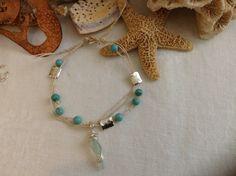 Anklet w/ sea glass charm by WaterSpirits Jewelry