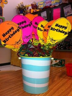 Classroom birthday gift - attached to a crazy straw