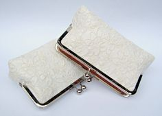 Lace bridal clutch bag set of 2 ivory by ConstanceHandcrafted, $118.00