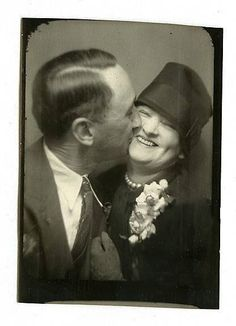 +~ Vintage Photo Booth Picture ~+  Oh my goodness - love the joy that is spilling out of these two!