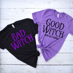 Good Witch and Bad Witch Shirts Best Friend Matching Shirts, Best Friend T Shirts, Bff Shirts, Best Friend Outfits, Hallowen Costume, Halloween Shirt, Matching Outfits, Matching Costumes, Girl Outfits