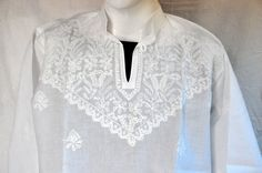 Plus size Mens tunic short shirt Long by KurtiTunicTopLucknow Embroidered Clothes, Embroidered Tunic, Mens Tunic, White Kurta, Short Shirts, Tunic Tops, Plus Size, Trending Outfits, How To Wear