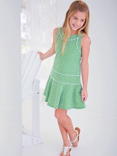 Find this green eyelet dress and others by Laundry for girls in our department Frocks For Girls, Kids Frocks, Little Girl Outfits, Little Girl Fashion, Little Girl Dresses, Kids Outfits, Kids Fashion, Girls Dresses, Fashion Outfits