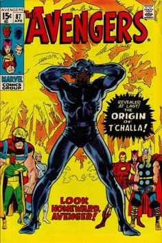 Black Panther - 1971 The Avengers Marvel Comics (Featuring John Buscema and John Verpoorten Cover/Art; Origin of Black Panther) Marvel Dc Comics, Old Comics, Marvel Comic Books, Vintage Comics, Comic Book Characters, Comic Book Heroes, Comic Books Art, Hulk Comic, Marvel Art