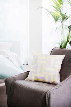 Cushion from ELSON #cushion #silk #grey #yellow #cushions #shotsilk #homedecor #homeaccessories