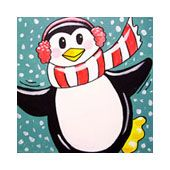 Social Artworking Canvas Painting Design - Perky Penguin