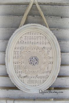 Shabby White Decor Altered Lace Art Vintage Rhinestone by QueenBe Doily Art, Lace Art, Old Sheet Music, Vintage Sheet Music, Oval Picture Frames, Oval Frame, Shabby Chic Crafts, Shabby Chic Decor, Vintage Rhinestone