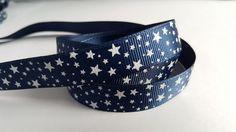 3m Printed Ribbon - Grosgrain - 16mm - Stars - Navy Blue