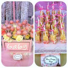 Shabby chic baby shower - cake pops & rice crispy treats